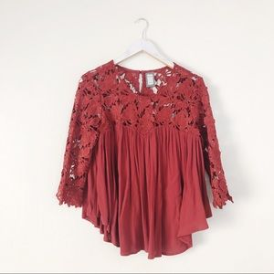 Anthro Guest Editor Red Floral Lace Top Blouse